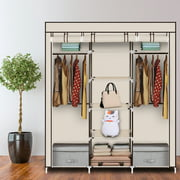 Clearance! Portable Wardrobe Closet, SEGMART Heavy-Duty Clothes Organizer with shelves, Closet Organizer Kit for Bedroom, Wardrobe with Zippered Dustproof Cover, Easy to Assemble, Beige, W5048