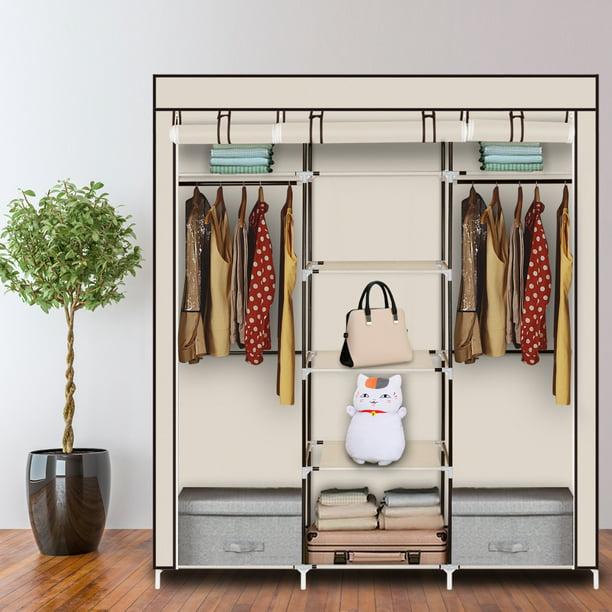 Portable Bedroom Clothes Storage Closet Shelf Dustproof Fabric Wardrobe Beige zipperl 50 Closet Organizer