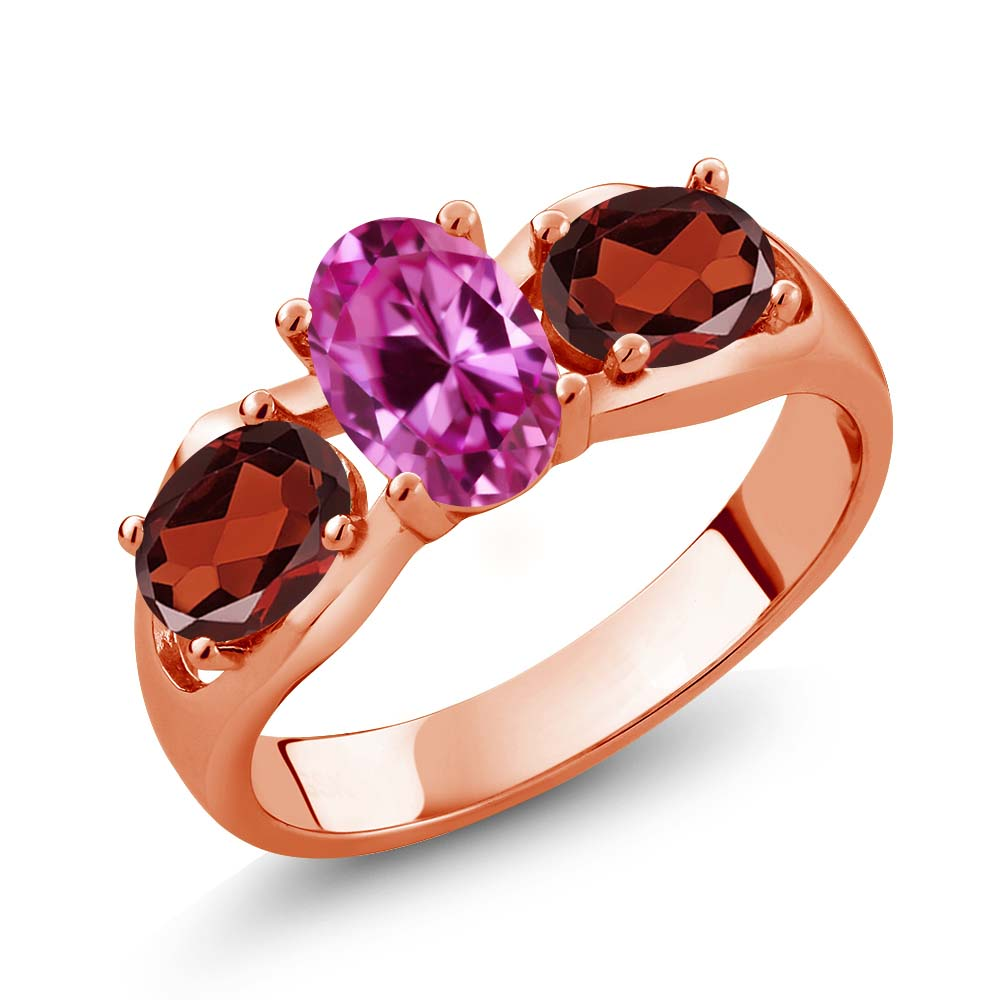 1.90 Ct Oval Pink Created Sapphire Red Garnet 14K Rose Gold Ring by