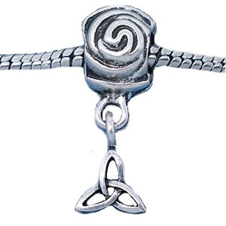 Rose w/ Celtic Knot Dangle European Bead Compatible for Most European Snake Chain Bracelet