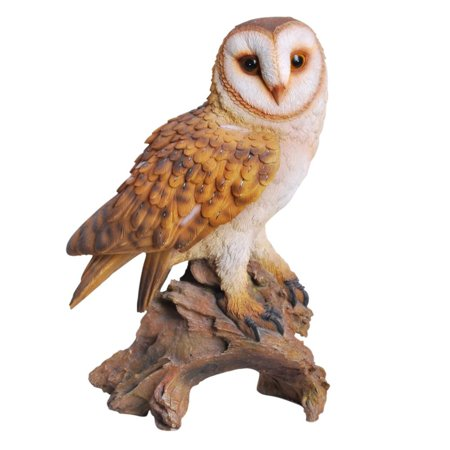 Scale Painted Resin (Realistic Looking Barn Owl Perched On Stump Statue Gallery Quality Detailed Sculpture Amazing Likeness Life Size Scale Resin Sculpture Hand Painted Statue Indoor Outdoor)