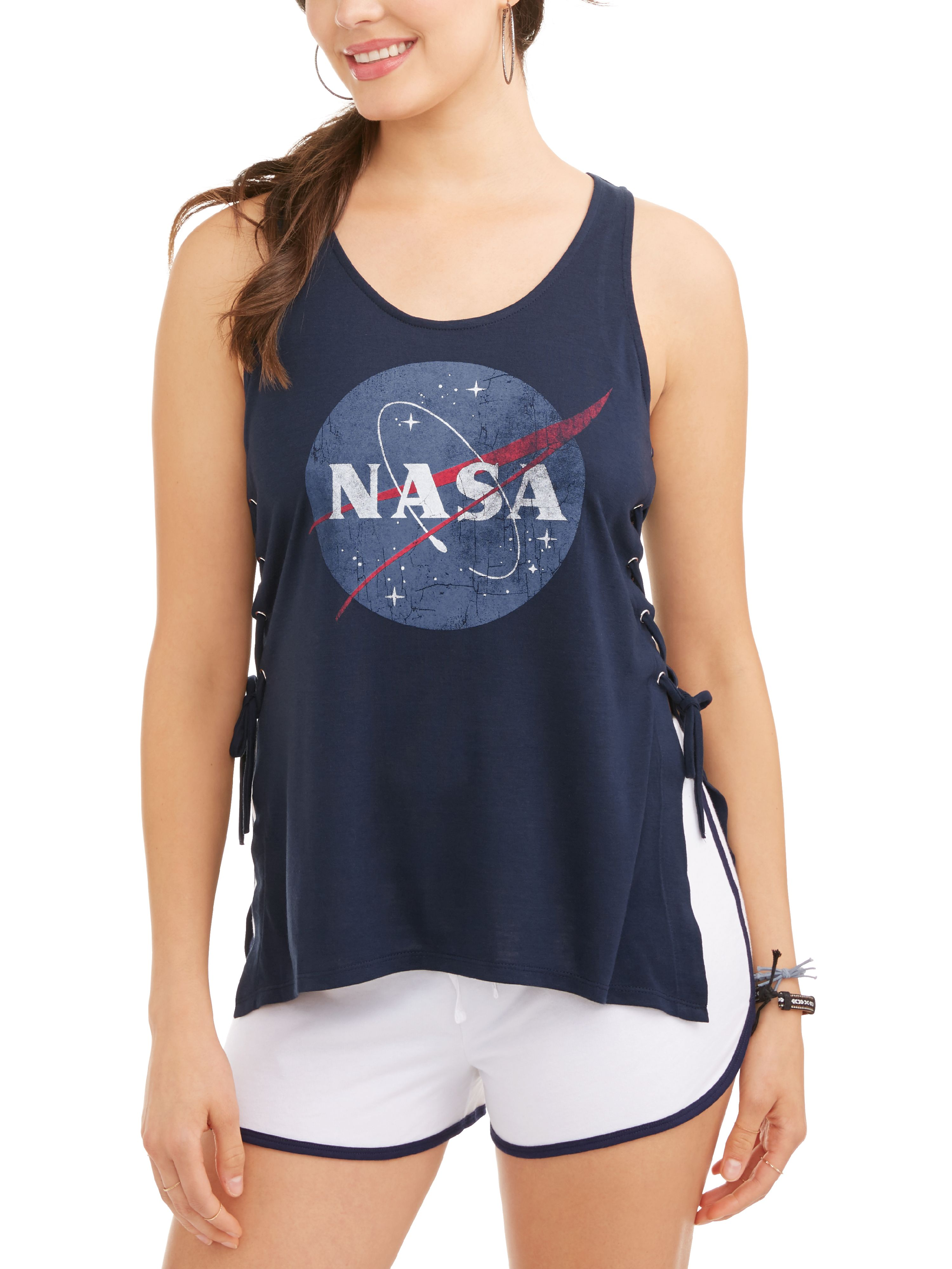 Juniors' NASA Space Side Lace-Up Graphic Tank