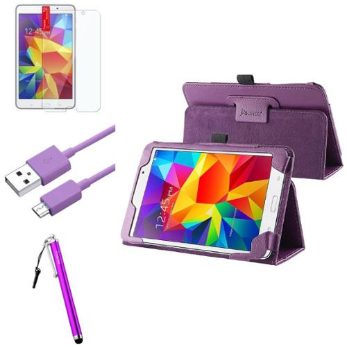 "Insten Purple Leather Stand Case+LCD+Pen+Cable For Samsung Galaxy Tab 4 7.0 7"" SM-T230"