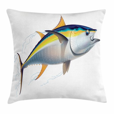 Tenba Rain Cover (Fish Throw Pillow Cushion Cover, Yellowfin Tuna Realistically Illustrated with Shadows and Water Details on Fins, Decorative Square Accent Pillow Case, 24 X 24 Inches, Earth Yellow Blue, by)