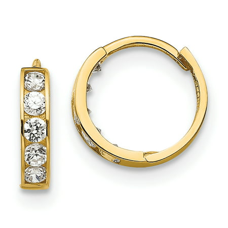 Ankles Hood (14k Yellow Gold Cubic Zirconia Cz Childrens Hinged Hoop Earrings Ear Hoops Set Gifts For Women For Her)