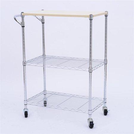 6a0fd4cdf456 HomCom 24-in. Portable Rolling Wire Shelf Wood-Top Kitchen Storage Trolley