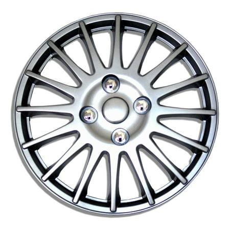 Set of 4  Metallic Silver Hubcaps 15