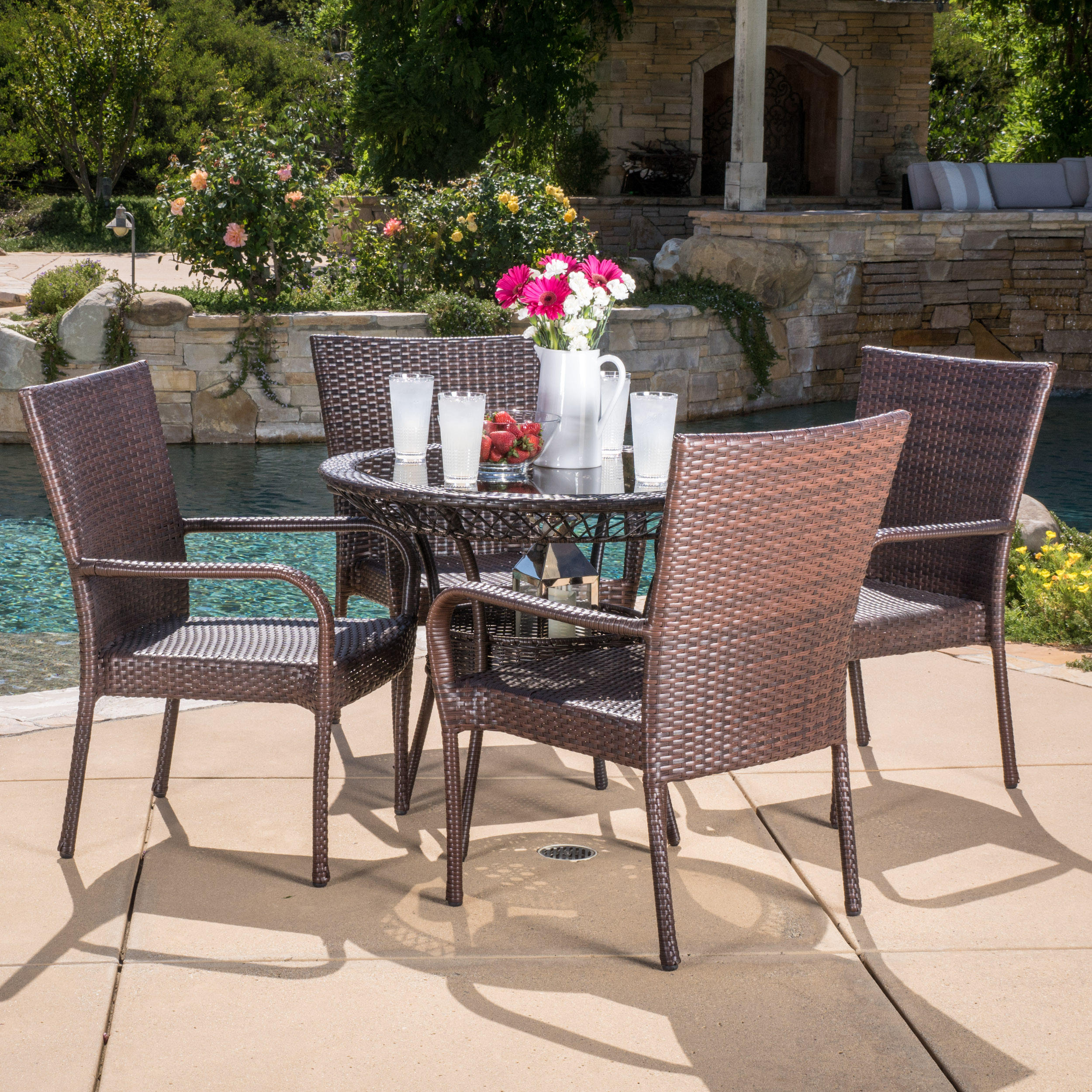 Malone 5 Piece Outdoor Round Glass Top Wicker Dining Set, Multibrown