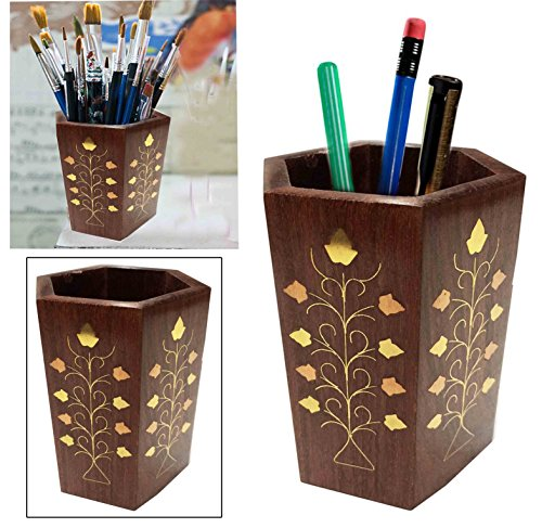 Handmade Wood Desk Pen Pencil Holder Makeup Brush Or Vintage Tableware Organizer Wooden Stand Perfect For Office Home To Organize Your