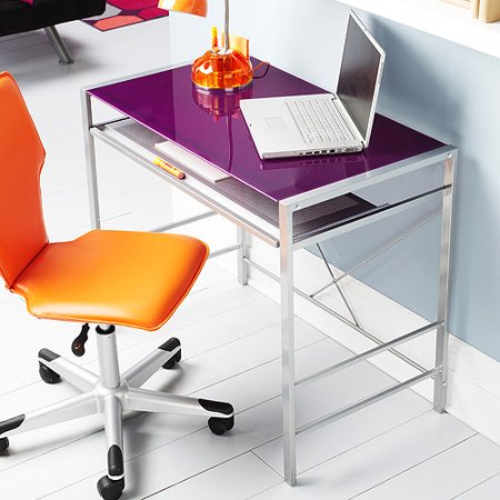 Mainstays Btc Purple Glass Desk With Metal