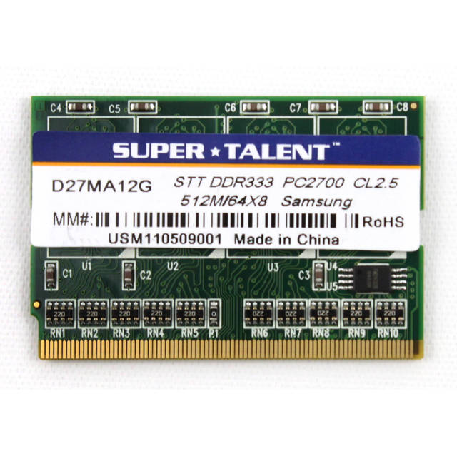 Super Talent D333 512M 172Pins DIMM Notebook Memory