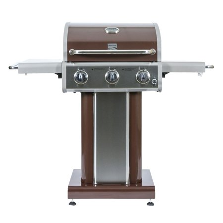 Broan Grill - Kenmore 3 Burner 30000 BTU Propane Patio BBQ Pedestal Grill with Shelves, Mocha