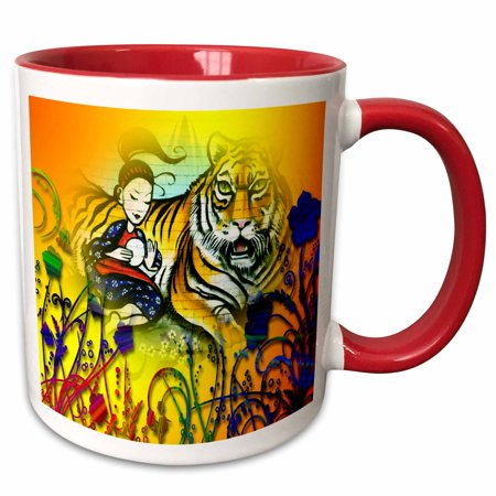 3dRose Oriental designer art with Bengal Tiger and Geisha Girl Floral back - Two Tone Red Mug, 11-ounce
