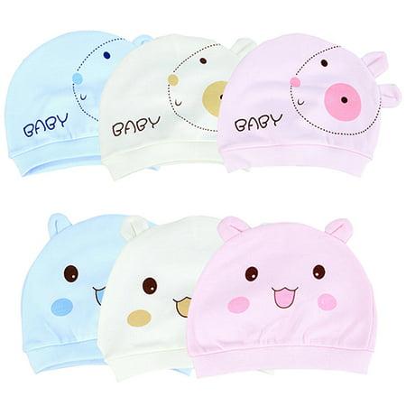 Obstce (Asian Size)Unisex Baby Hat Newborn Toddler Beanie Cute Smile Face Rabbit Design Cotton Cap Warm