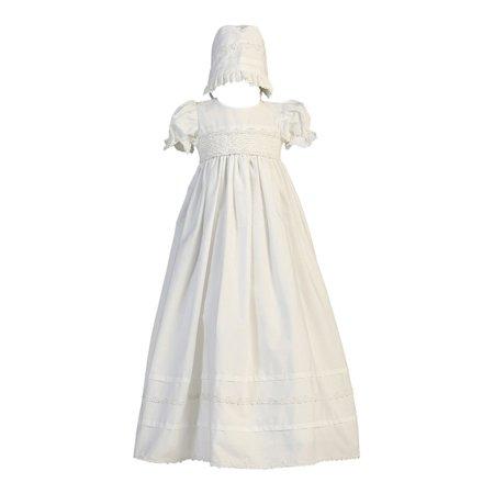 Baby Girls White Smocked Cotton Long Gown Bonnet Baptism Set 0-18M
