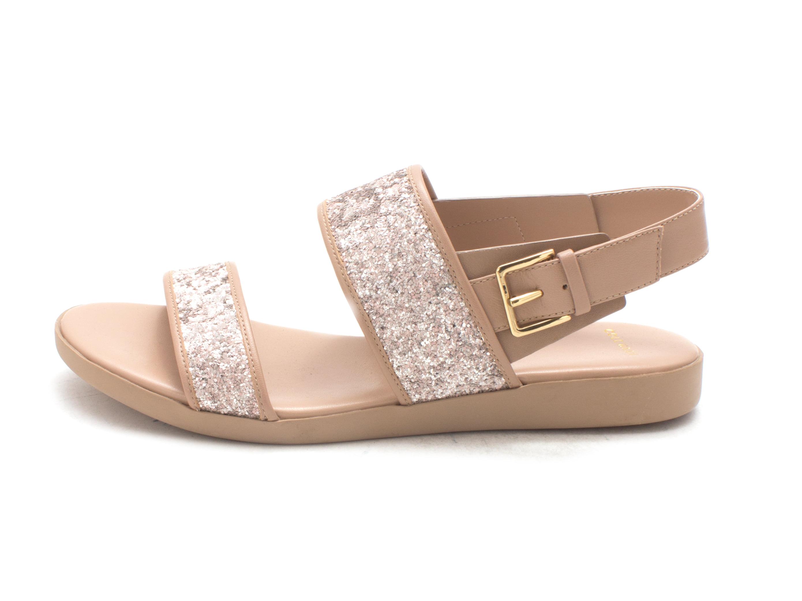Cole Haan Womens Trusam Open Toe Casual Slingback, Tan/Glitter Upper, Size 6.0