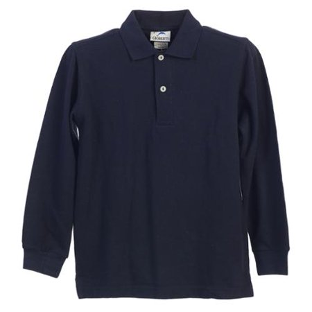Boys Girls Navy Long Sleeve School Uniform Polo Shirt (Navy Blue Long Sleeve Uniform)