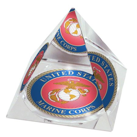 US Marine USMARINEPY80 3 in. Crystal Pyramid Collectible with US Marine Design