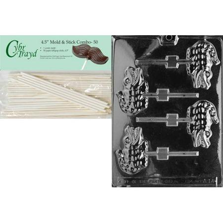 Cybrtrayd 45St50-A014 Alligator Lolly Animal Chocolate Candy Mold with 50 4.5-Inch Lollipop Sticks