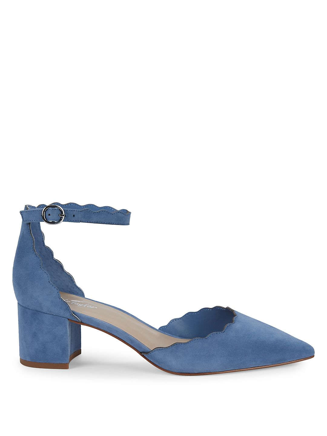 14370f8695 Lord & Taylor - Madia Scalloped Cutout Suede Pumps - Walmart.com