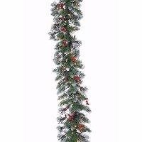 Glazier Pine Iced Garland 9 FT w/ 100 White mini Lights Christmas UL New in Box