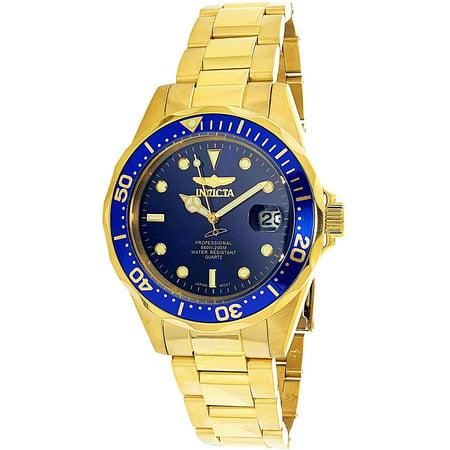 Mens Invicta Gold Plated - Men's Pro Diver GQ 8937 Blue Gold Tone Quartz Diving Watch