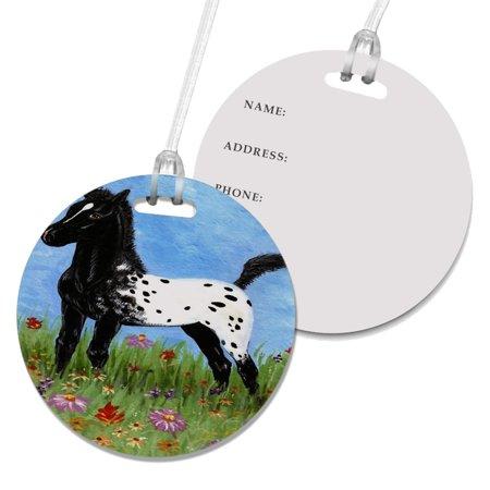 KuzmarK Luggage Travel Round Bag Tag -  Black Blanket Appaloosa Foal & Western Wildflowers Horse Art by Denise (Best Western Travel Cards)