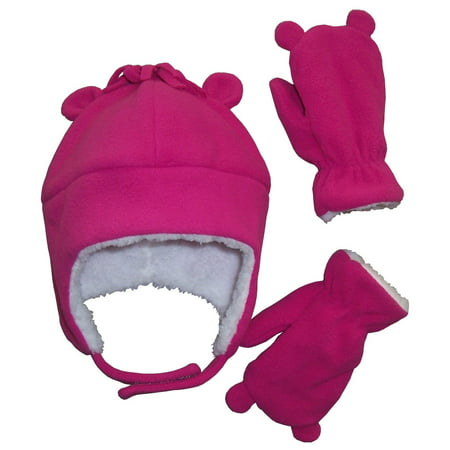 NICE CAPS Toddler Girls and Baby Warm Sherpa Lined Micro Fleece Hat and Mitten Cold Weather Winter Snow Headwear Accessory Set with Ears - Fits Little Kids and Infant Sizes