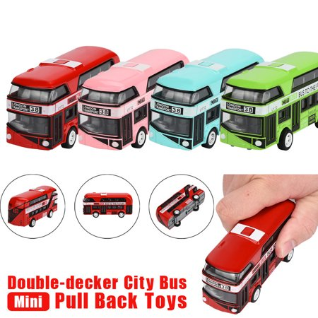 New Amusing Pull Back Bus Collection Model Double-decker Bus Alloy Die Cast City Bus For Kid