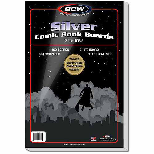 BCW Comic Book Backing Boards, Silver, 100 Boards Per Pack