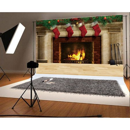 HelloDecor Polyster 7x5ft Christmas Backdrop Fireplace Red Stocking Pine Twigs Rustic Wood Floor Interior Happy New Year Photography Background Kids Adults Photo Studio Props