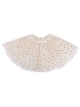Girls Tutu 4 Layered Tulle Dress-Up Princess Fairy Tutu Skirt,Cream