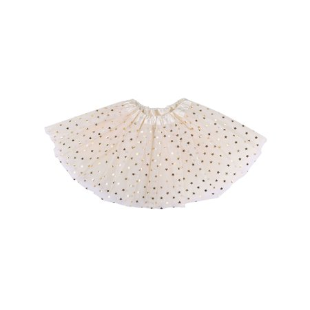 Girls Tutu 4 Layered Tulle Dress-Up Princess Fairy Tutu Skirt,Cream