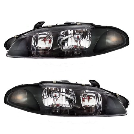 BROCK Headlights Headlamps Driver and Passenger Replacements for 97-99 Mitsubishi Eclipse MR485143 MR485144