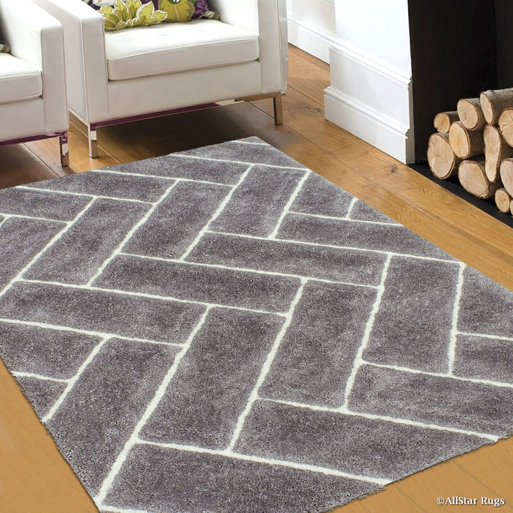 Allstar Silver Shaggy Area Rug with 3D Design with Lines. Contemporary Formal Casual Hand Tufted (5' x 7')