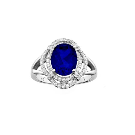 Platinum Plated Sterling Silver Oval Double Cut Blue Obsidian Pave CZ Ring in Size 6, 7, or 8
