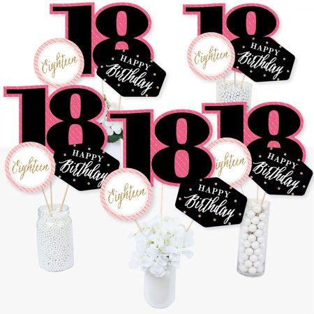 Chic 18th Birthday - Pink, Black and Gold - Birthday Party Centerpiece Sticks - Table Toppers - Set of 15 (Pink And Black Table Centerpieces)