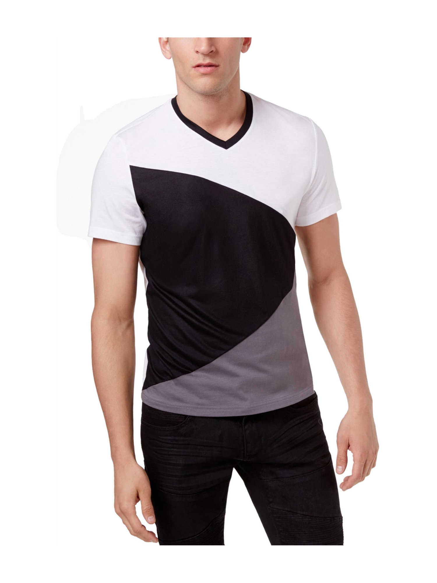 I-N-C Mens Diagonal Colorblocked Basic T-Shirt