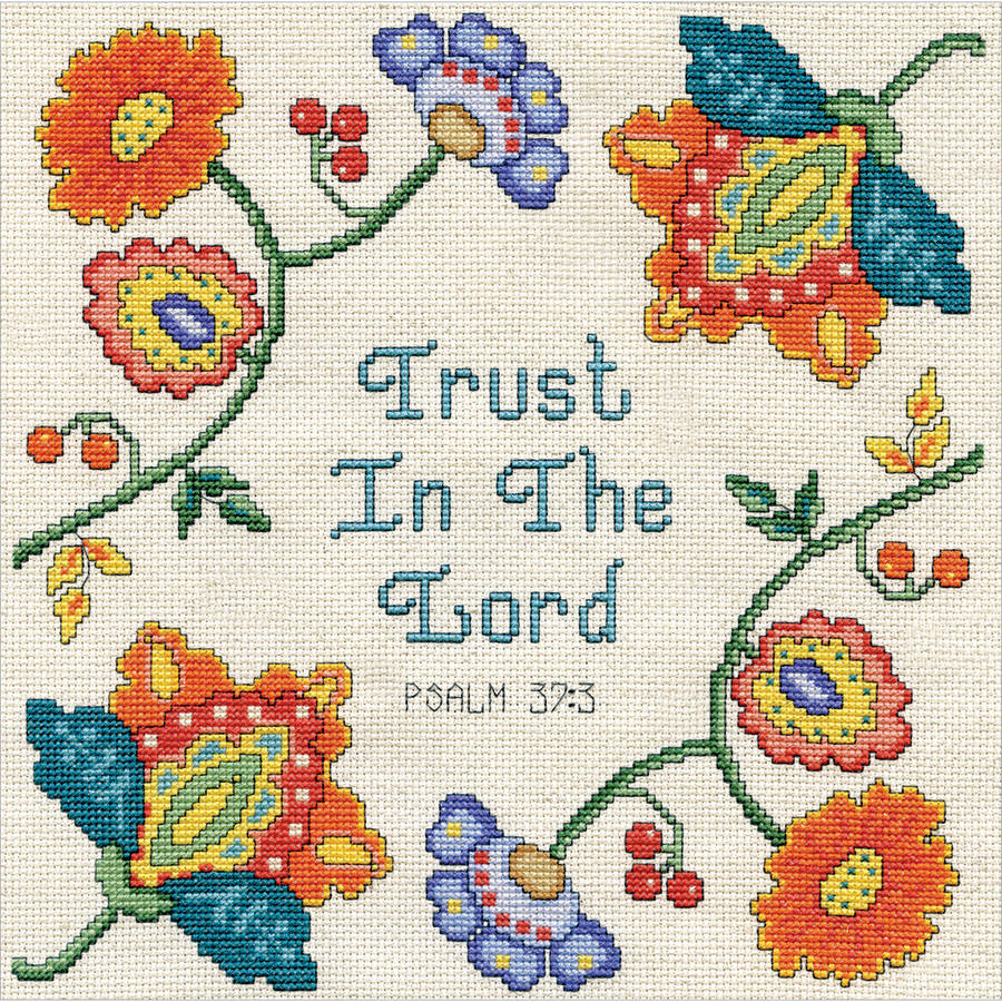 "Trust Counted Cross Stitch Kit, 10"" x 10"", 14-Count"