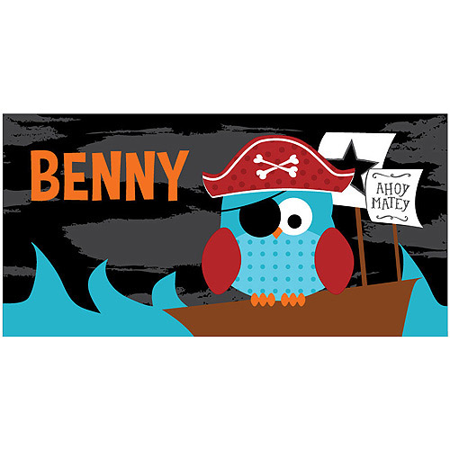 Personalized Pirate Owl Kids Beach Towel