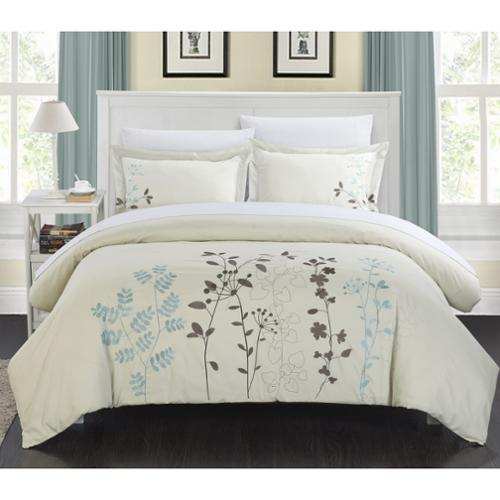 Chic Home Kaylana Floral Embroidered 7-piece Bed in a Bag Set Beige-Queen