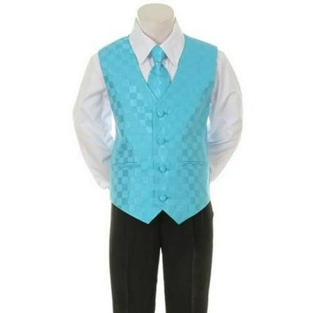 Kids Dream Aqua Checkered Vest Formal Special Occasion Boys Suit 24M for $<!---->