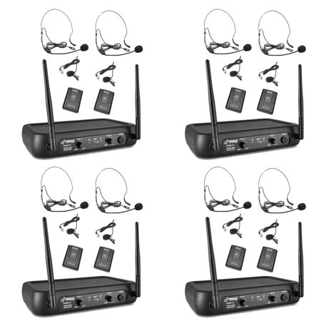 Pyle Pro Bodypacks, Lavaliers, Headsets VHF Wireless Microphone System (4 Pack)