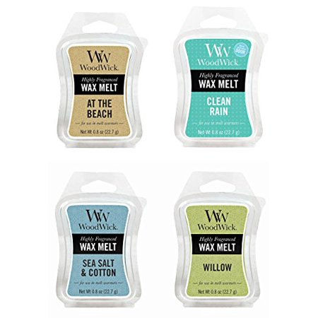 FRESH Bundle - 4 Items: At The Beach, Clean Rain, Sea Salt & Cotton, and Willow WoodWick .8oz Mini Wax Melts ()