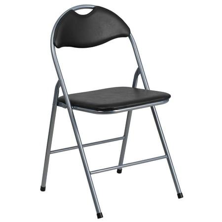 Flash Furniture HERCULES Series Black Vinyl Metal Folding Chair with Carrying Handle