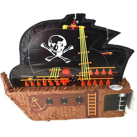 Pirate Ship with Sail Pinata, Brown, - Pirate Pinatas