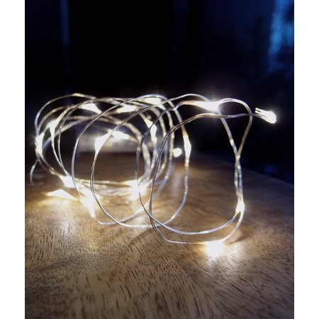 Fantado 20 Warm White LED Micro Fairy String Lights, Wire (6ft, Battery Operated) by PaperLanternStore (Battery Operated Led String Lights)