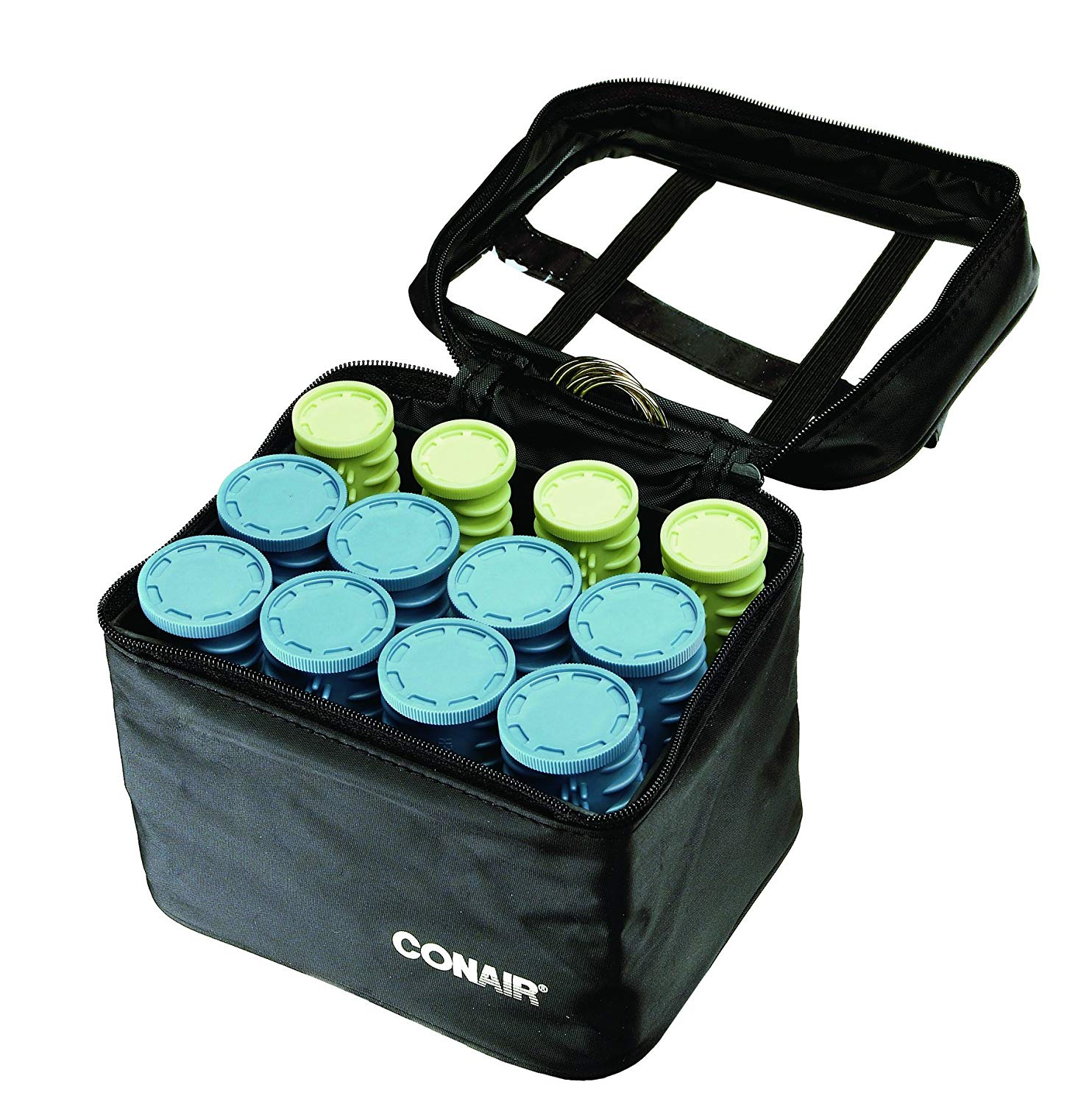 Instant Heat Compact Hot Rollers w/Ceramic Techology; Black Case with Blue and Green Rollers Conair