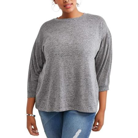 Concepts Women's Plus Peasant Sleeve Sweatshirt for $<!---->
