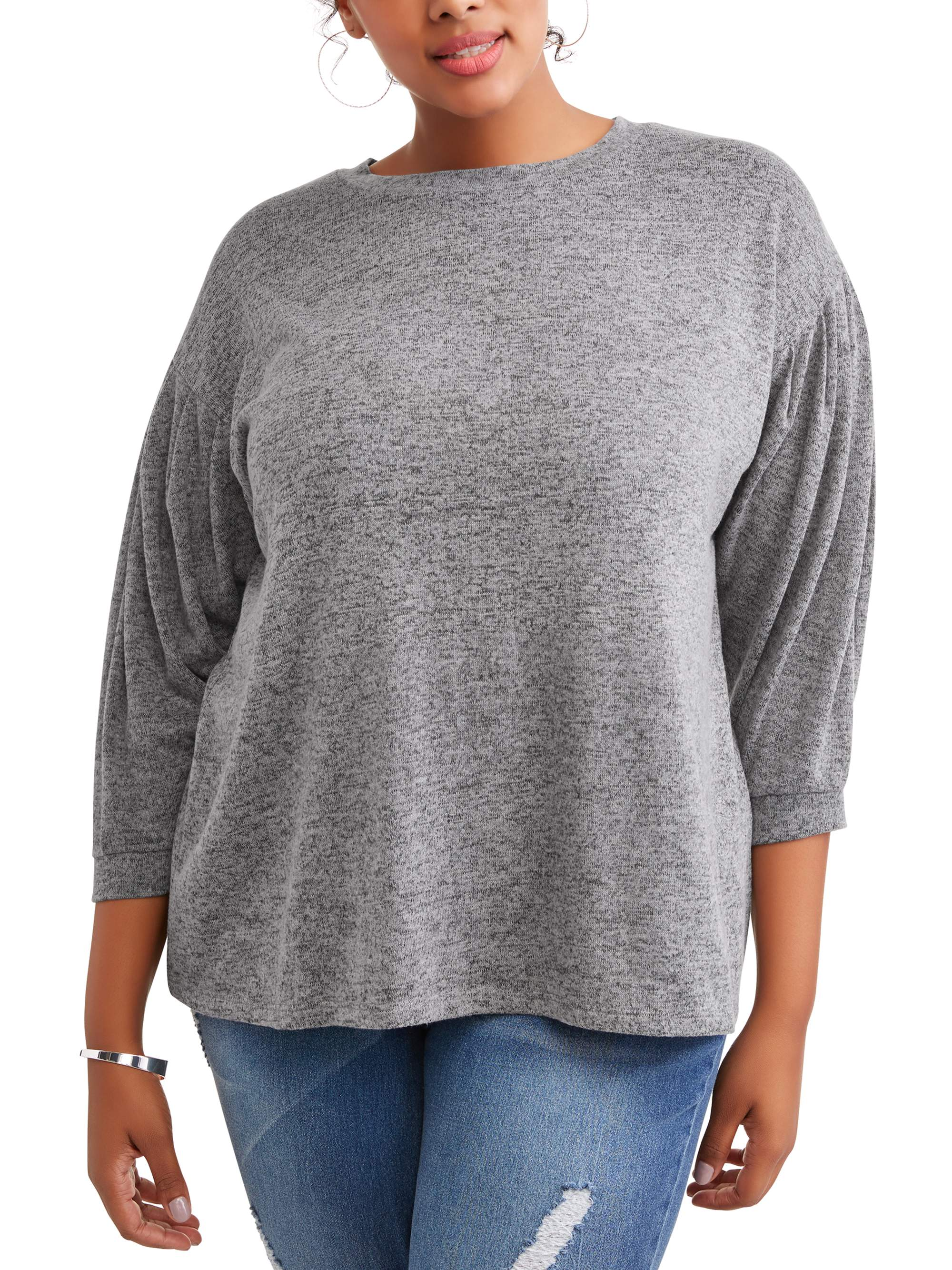Women's Plus Peasant Sleeve Sweatshirt